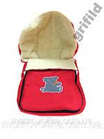 Зимний детский конверт на овчине красный, розовый, фиолетовый, бордовый, синий Красный