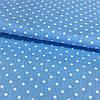 Ткань с мелким горошком 3 мм на голубом фоне