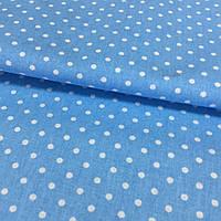 Ткань с мелким горошком 3 мм на голубом фоне, фото 1