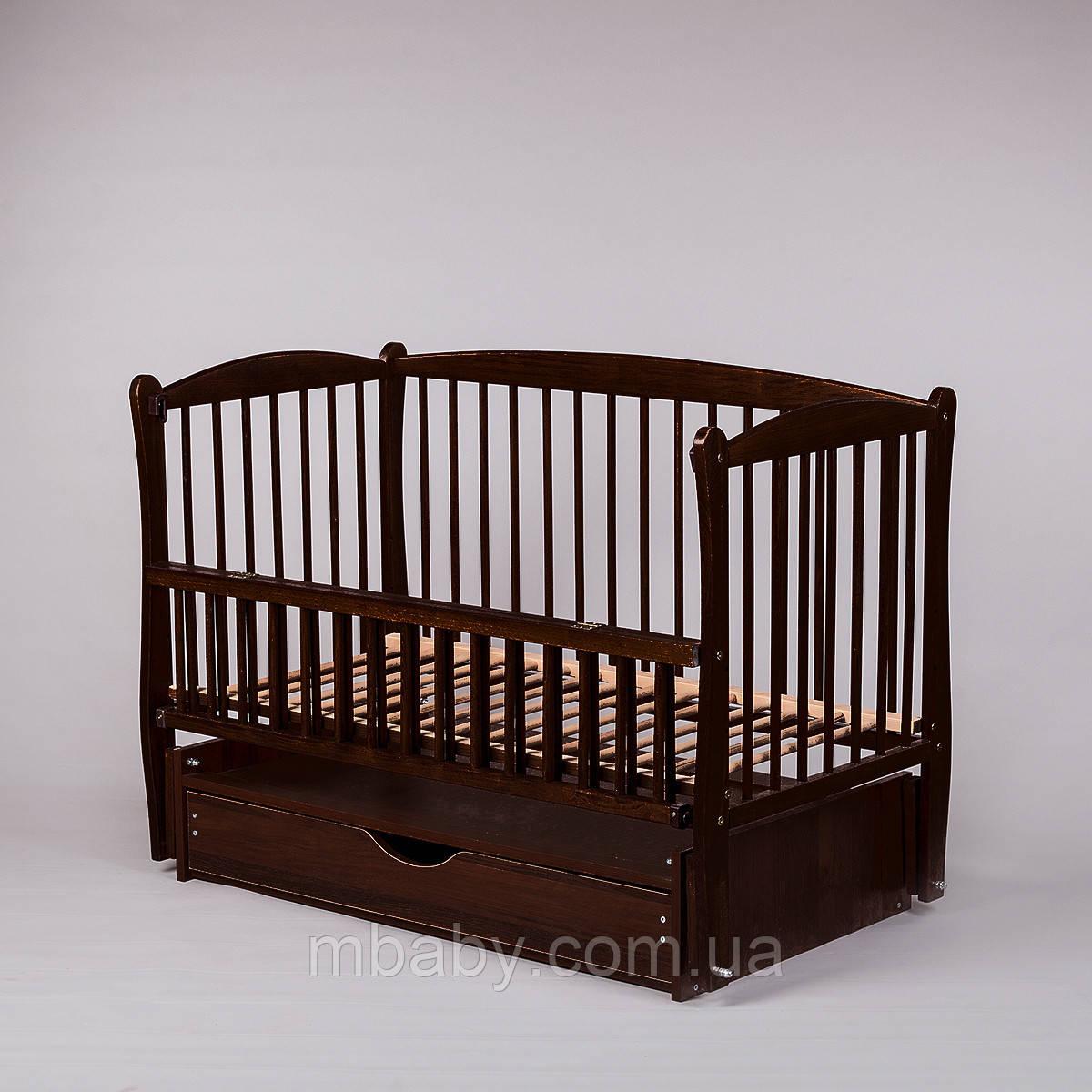 Дитяче ліжко Дубок Еліт (колір венге), з відкидною боковини на маятнику з ящиком