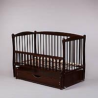 Детская кроватка Дубок Элит (цвет венге), с откидной боковины на маятнике с ящиком