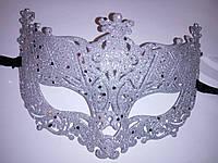 Маска венецианская карнавальная серебро
