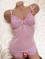Комплект для сна лилово-розовый (маечка-пеньюар + трусики). Lemila 603-3. Размер L