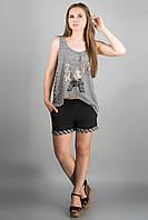 Костюм летний Париж (черный) туника и шорты 46-52 размер, фото 1