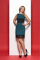 Классическое женское платье с кружевом бутылочного цвета