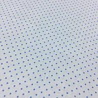 Ткань с мелким голубыми точками (горошками) 2 мм на голубом фоне, фото 1