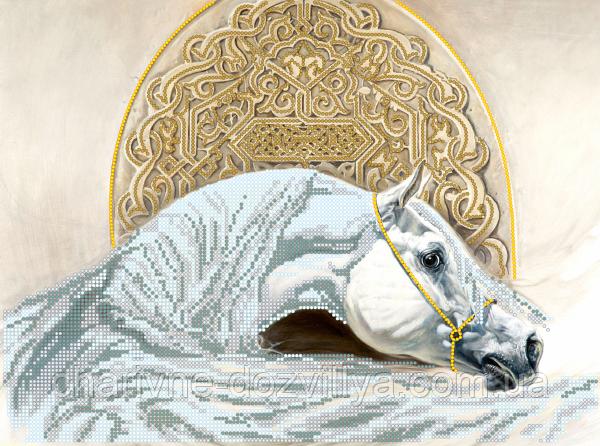 """Схема для вишивання бісером на атласі """"Білий кінь"""""""