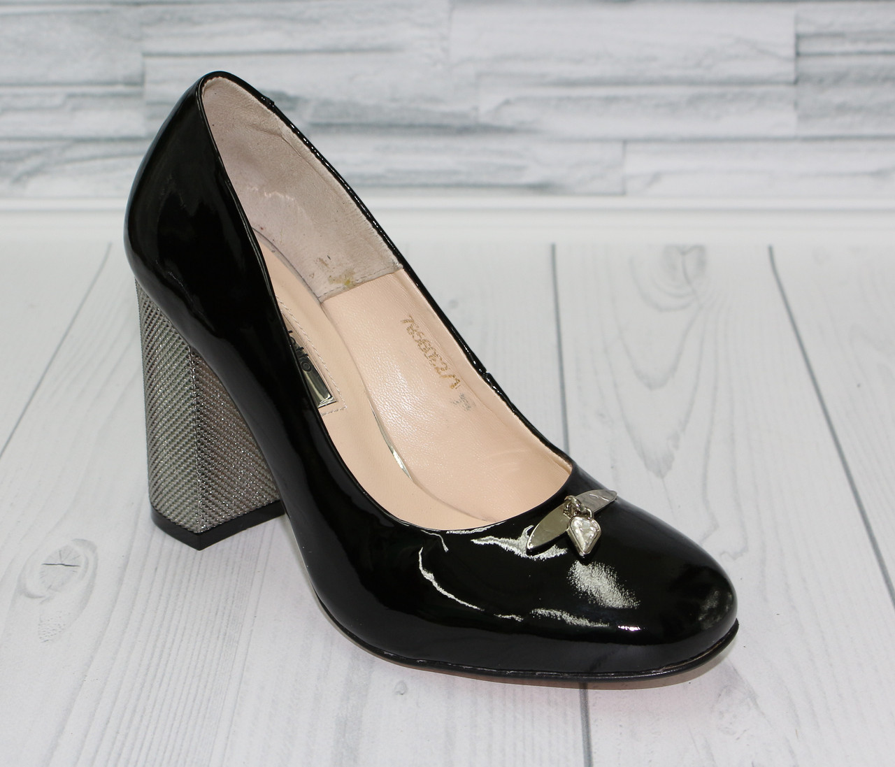 6ed449894 Лодочки на серебристом каблуке. Натуральная кожа. Туфли женские 0342 - Интернет  магазин обуви от