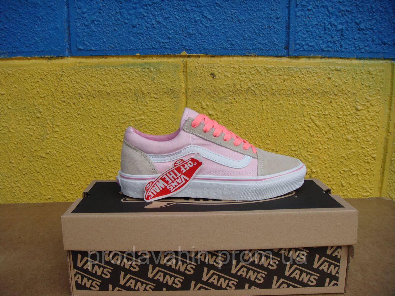 a50e13b9 Кеды Vans Textile-Suede (ванс женские) розовые с бежевым - Интернет-магазин