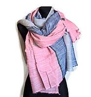 Легкий шарф Палермо из вискозы и хлопка, роза/индиго/серый