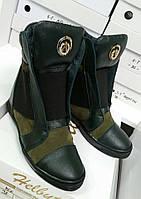Женские ботинки Зеленые из Натуральных материалов Модные А Польша Оригинал
