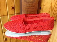 Красные ажурные мокасины балетки кружево 39 р- 25-25,5 см
