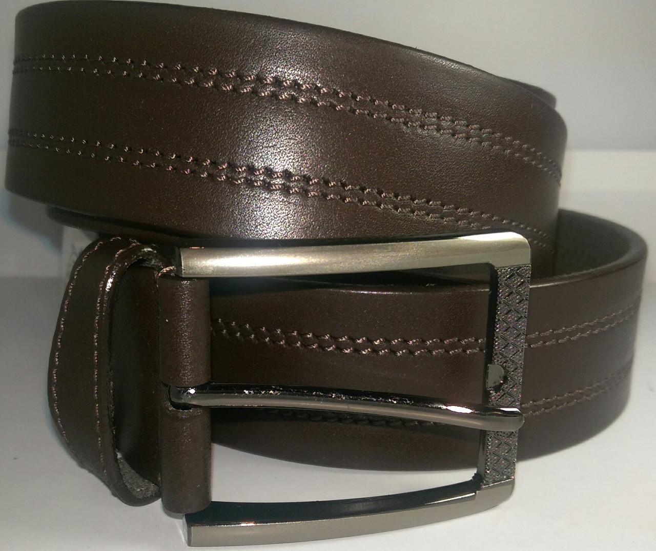 Ремень мужской кожаный 4см коричневый с двойной строчкой