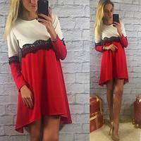 Платье бело-красное с кружевом
