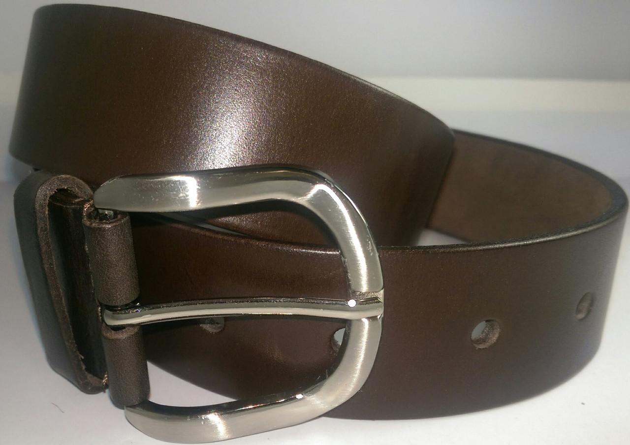 Ремень кожаный 4см коричневый гладкий