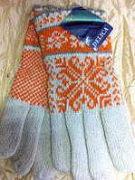Женские комбинированные перчатки удлиненные шерстяные