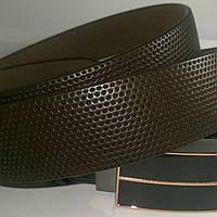 Ремень мужской кожаный коричневый зажим 3,5см
