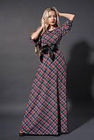 Нарядное длинное платье в клетку с поясом из эко-кожи . Размер 46,48,50.