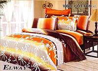 Постельное сатин полуторный ELWAY. Польша. Комплект постельного белья 160х220 см. 3142