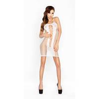 Эротическое белое платье-сетка Passion BS027