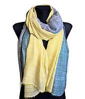 Легкий шарф Палермо из вискозы и хлопка, желтый/изумруд/индиго