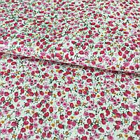 Ткань с мелкими малиновыми и розовыми цветочками, фото 1