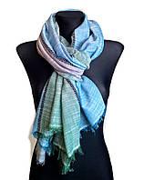 Легкий шарф Палермо из вискозы и хлопка, изумруд/голубой