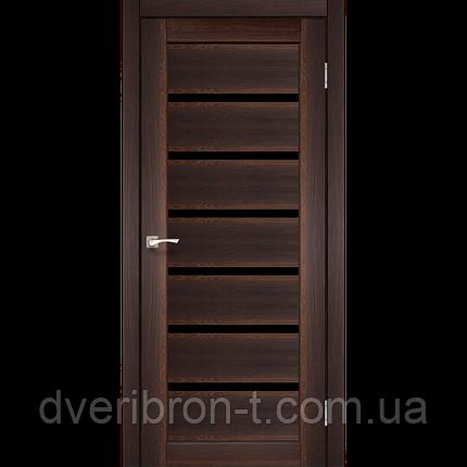Двері Корфад Porto Deluxe PD-01 горіх чорне скло, фото 2