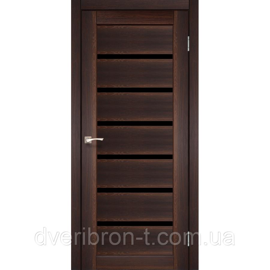 Двери Корфад Porto Deluxe PD-01 орех черное стекло