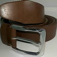 Ремень кожаный гладкий светло-коричневый 3,5см