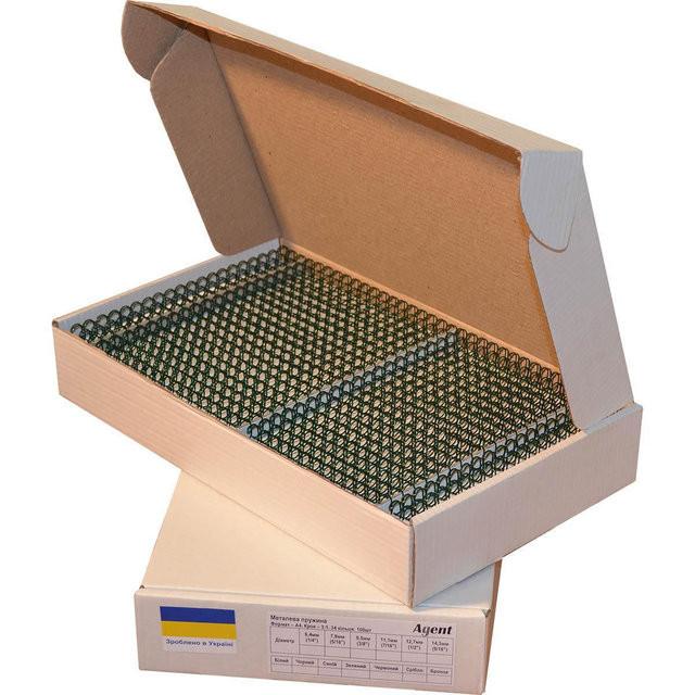 Металлические пружины А4 14,3 мм, шаг 3:1,зеленая уп/100