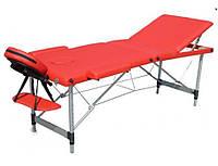 Масажний стіл, алюмінєвий, трьох секційний, червоний.