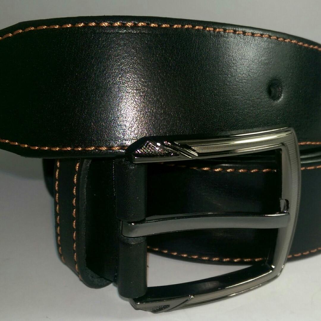 Ремень кожаный 4см чёрный с одной коричневой строчкой