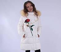 """Полупальто зимнее, для девочки, утеплитель - тинсулейт. """"Роза в """"BIKO&KANA designs""""""""."""