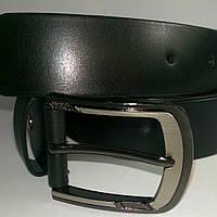 Ремень кожаный чёрный гладкий 3,5см