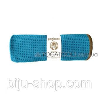 Йога полотенце для коврика Sunframe с силиконовыми вкраплениями. Синий