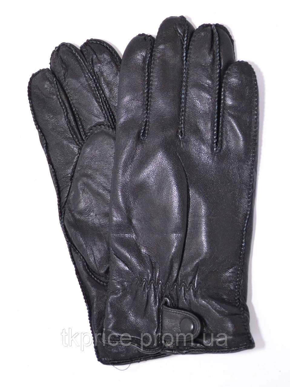 Мужские кожаные перчатки с махровой подкладкой (наружный шов)