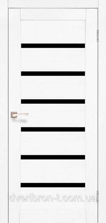 Двері Корфад Porto Deluxe PD-01 ясен білий чорне скло