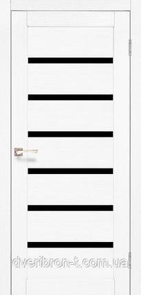 Двері Корфад Porto Deluxe PD-01 ясен білий чорне скло, фото 2