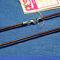 Кожаный шнурок с серебряными вставками 45 см 20445-3