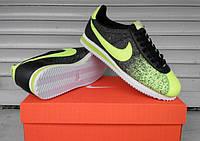 Спортивные кроссовки мужские Nike Cortez.  (найк кортез) черные с желтым
