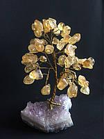Дерево из камня, сувенирное деревце из цитрина, среднее.