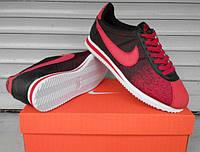 Крутые Спортивные кроссовки мужские Nike Cortez.  (найк кортез) черные с красным