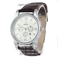 Оригинальные мужские наручные часы Omega Quartz Brown/Silver/White