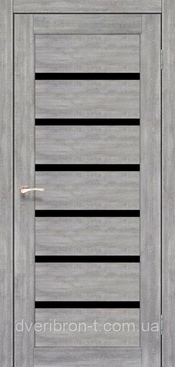Двери Корфад Porto Deluxe PD-01 эш-вайт черное стекло