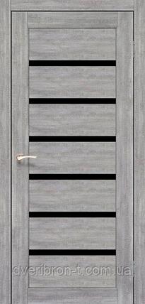 Двери Корфад Porto Deluxe PD-01 эш-вайт черное стекло, фото 2
