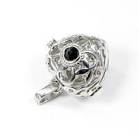 Кулон-Коробочка Сердце Латунь, со стразами, Цвет: Платина, Цвет страз: Черный, Размер: 24х20х18мм, Отверстие 9мм, (УТ100005281)