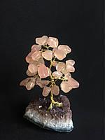 Дерево из камня, сувенир из розового кварца, среднее.