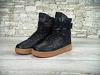 Спортивные кроссовки Nike air force high. (найк аир форс хай) черные