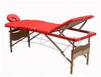 Масажний стіл, дерев'яний, трьох секційний, червоний.
